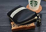 Клатч жіночий гаманець шкіряний (чорний з золотистим), фото 7