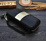 Клатч жіночий гаманець шкіряний (чорний з золотистим), фото 5
