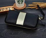 Клатч жіночий гаманець шкіряний (чорний з золотистим), фото 4