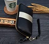 Клатч жіночий гаманець шкіряний (чорний з золотистим), фото 6