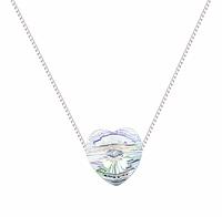 Серебряный кулон с цепочкой натуральный горный хрусталь в виде сердца, фото 1