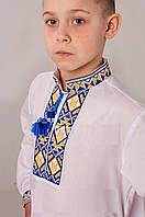 Вышиванка для мальчика с сине-желтой вышивкой , фото 1
