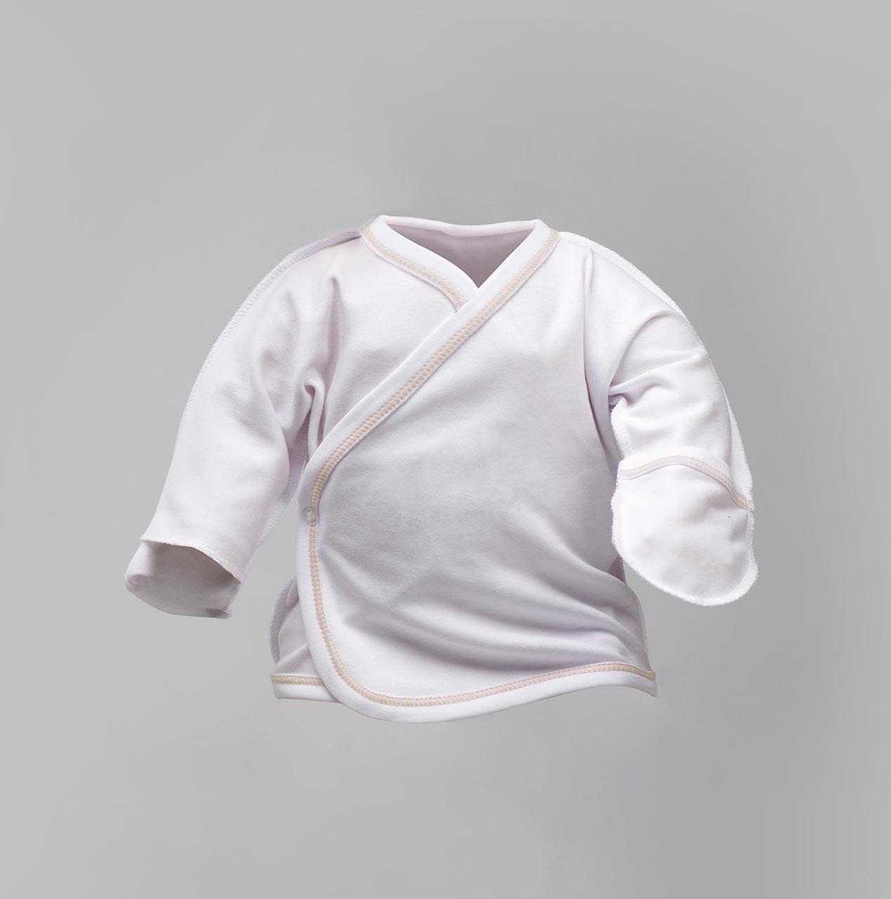 Распашонка белая для новорожденных, под нитку капучино Интерлок |  Льоля біла Victory для хлопчиків