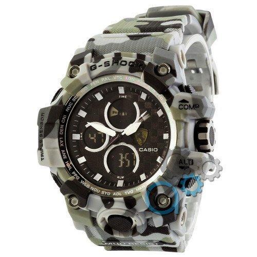 Электронные часы Casio G-Shock Ferrari Gray-Militari, спортивные часы Джи Шок феррари, реплика