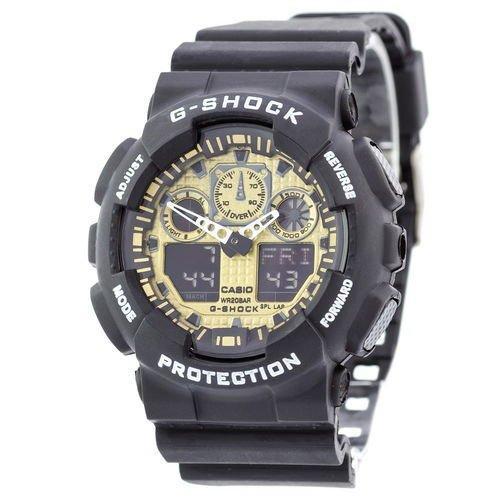 Электронные часы Casio G-Shock GA-100 Black-Gold, спортивные часы Касио Джи Шок, реплика, отличное качество