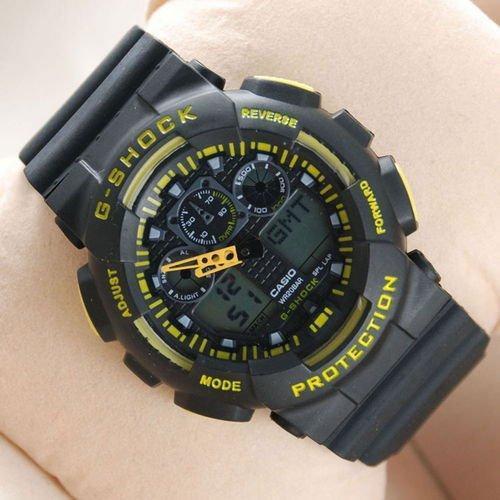 Электронные часы Casio G-Shock GA-100 Black-Yellow-Black, спортивные часы Касио Джи Шок, реплика, отличное качество