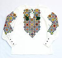Женская белая льняная рубашка с вышивкой Мозаика MOTYV by Piccolo L