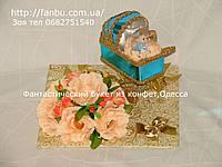 """Подарок из конфет на рождение ребенка """"Коляска с ангелочком"""", фото 1"""