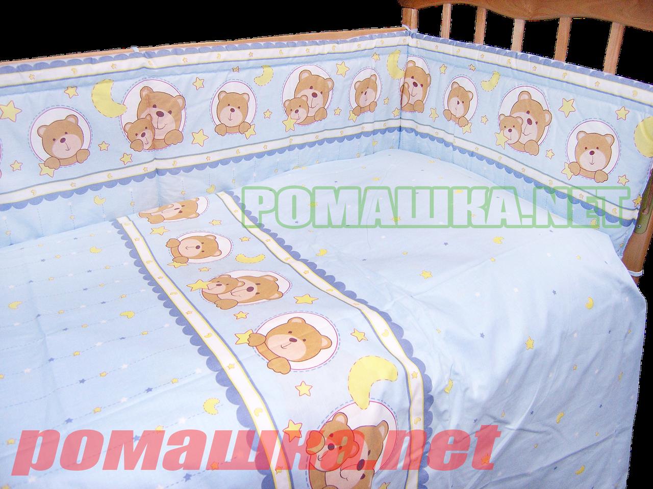 Набор в детскую кроватку из 6 предметов: постель, мягкие бортики, большое одело 140х100,подушка,100% хлопок