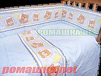 Набор в детскую кроватку из 6 предметов: постель, мягкие бортики, большое одело 140х100,подушка,100% хлопок, фото 1