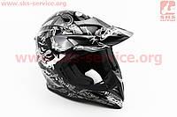 Шлем кроссовый HF-116 L- ЧЕРНЫЙ с бело-серым рисунком