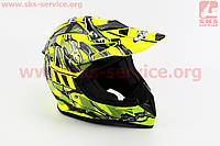 Шлем кроссовый HF-116 L- NEON YELLOW Q70