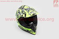 Шлем кроссовый HF-116 XL- NEON YELLOW Q70