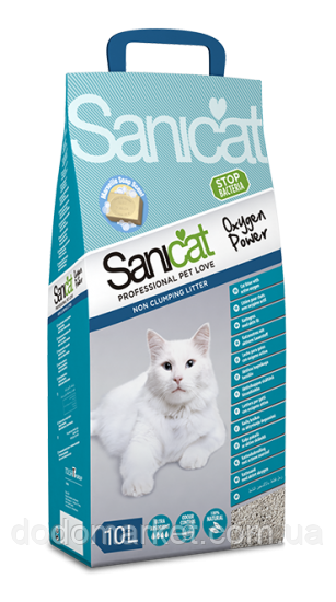 Впитывающий наполнитель для кошек Sanicat Oxygen Power 10 л