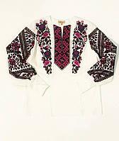 Женская белая льняная рубашка с вышивкой Дуэт MOTYV by Piccolo L