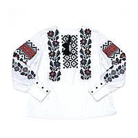 Женская белая льняная рубашка с вышивкой Гармония с манжетом MOTYV by Piccolo L