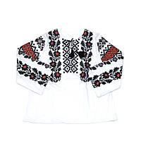 Женская белая льняная рубашка с вышивкой Гармония с широким рукавом MOTYV by Piccolo L