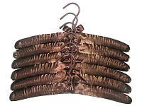 Атласные плечики 38,5см коричневые с поворотным крючком