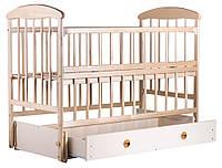Детская кроватка Наталка с маятником и ящиком и откидной спинкой ольха
