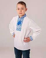 Вышитая сорочка с голубой вышивкой , фото 1