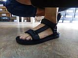 Стильные кожаные комфортные чёрные сандалии Bertoni, фото 9