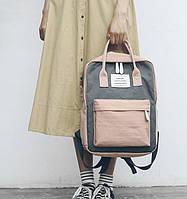 Женский яркий трендовый рюкзак сумка Черно-розового цвета (видео обзор)
