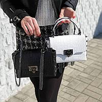 Кожаная сумка в стиле Валентино , Итальянские кожаные сумки TS000024 в белом , черном цвете