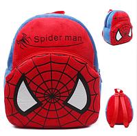 Красный детский плюшевый рюкзак для мальчика Человек паук (Spider man), дошкольный рюкзак-игрушка