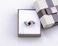 Серебряное кольцо бесконечность с разноцветными камнями размер 18