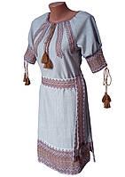 Красива підліткова вишита сукня із льону із тканою нашивкою Коричневий