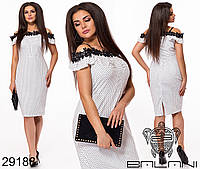Женское стильное платье в горошек с кружевом #348 (р.48-54) \ белое, фото 1