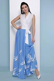 Платье длинное голубое на запах макси лето с аистами 42 44 46 48 50