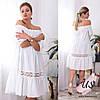 Коттоновое короткое батальное платье с кружевом. 5 цветов!