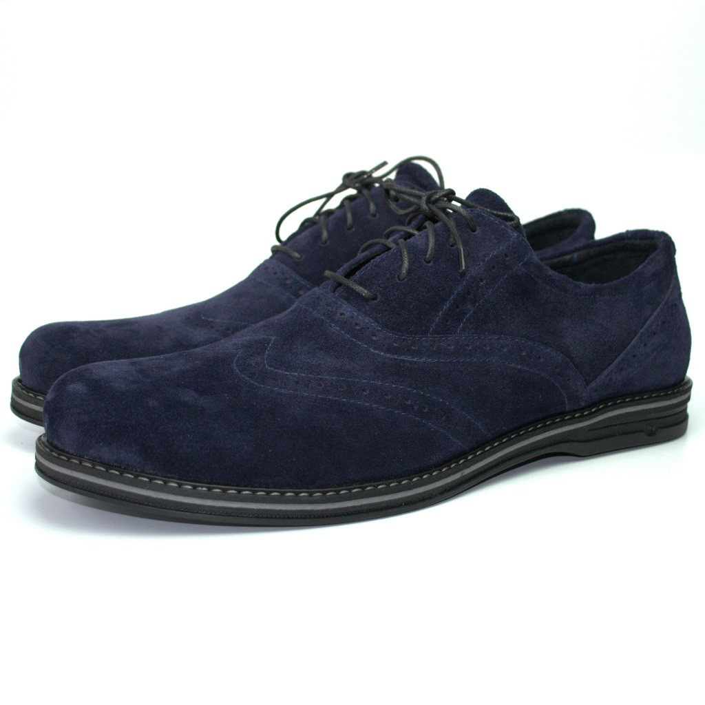 Туфли броги синие замшевые мужская обувь Rosso Avangard Romano 2 Blu Vel демисезонные