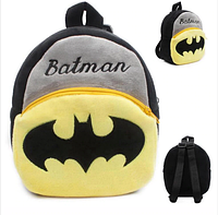 Черный детский плюшевый рюкзак для мальчика Бэтмен (Batman), дошкольный рюкзак-игрушка