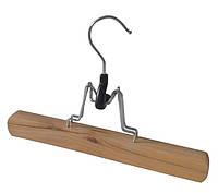 Компактная деревянная вешалка-плечики 25см с зажимом для брюк и юбок
