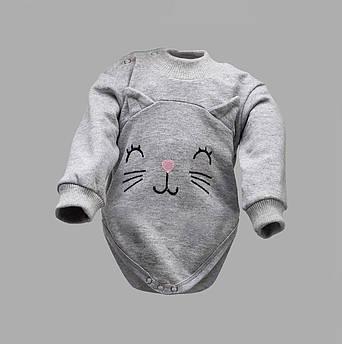 "Детский боди-джемпер ""Кошечка"" цвет меланж Начес | Боді-джемпер для малят ""Кішечка"" колір меланж"