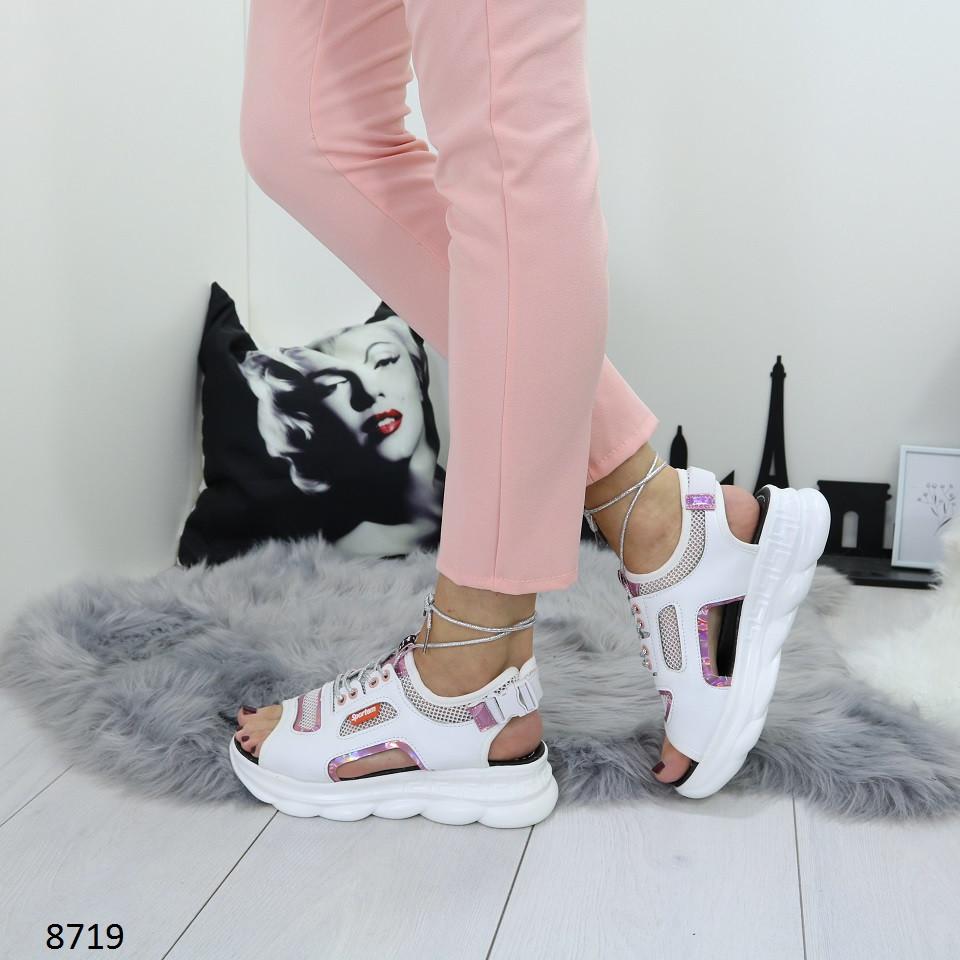 Белые женские босоножки на шнуровке, искусственная кожа 37 ПОСЛЕДНИЙ РАЗМЕР