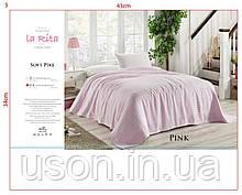Бамбуковая простынь пике евро размер Тм La Rita Pink-1