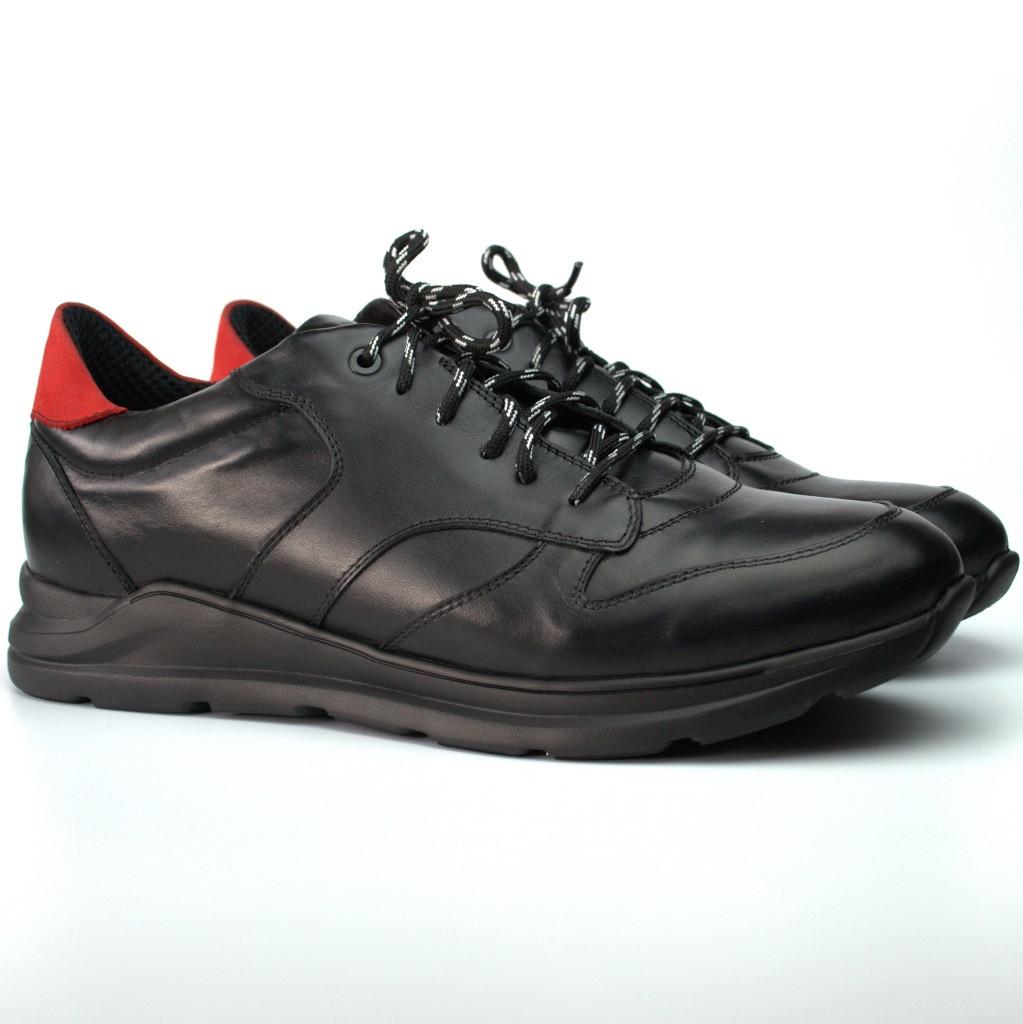 Кроссовки мужские черные кожаные сникерсы обувь весенняя демисезонная Rosso Avangard Black Panther 2