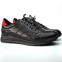 Кроссовки мужские черные кожаные сникерсы обувь весенняя демисезонная Rosso Avangard Black Panther 2, фото 1