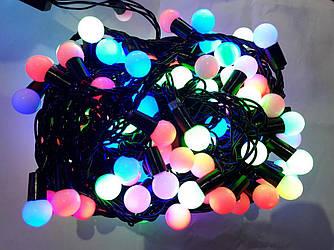 Гирлянда ШАРИКИ 100 LED 11mm  10 метров разноцветная