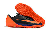 Футбольные сороконожки Nike Mercurial VaporX XII Club CR7 TF Black/Orange, фото 1