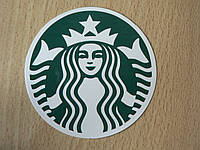 Наклейка пп Китай логотип Starbucks 68х68мм круглая Старбакс кофе женщина в короне со звездой зеленая Америка