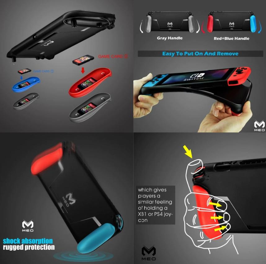 Силиконовый чехол GripCase MEO c ручками (2 набора) для Nintendo Switch /есть стекла /