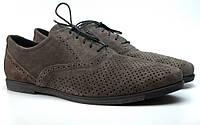 Летние туфли броги замшевые с перфорацией мужская обувь Rosso Avangard Grigio Grey Romano Perf серые, фото 1