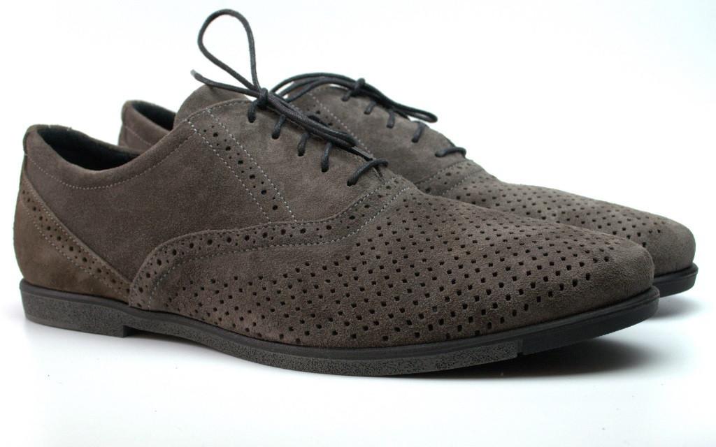 Летние туфли замшевые с перфорацией мужская обувь большой размер Rosso Avangard Grigio Grey Romano Perf серые