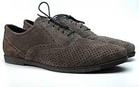 Летние туфли замшевые с перфорацией мужская обувь большой размер Rosso Avangard Grigio Grey Romano Perf серые, фото 1