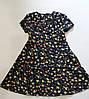 """Детское платье для девочки 6-10 лет,""""Мелкий цветочек"""",темно синего цвета"""