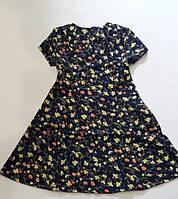"""Детское платье для девочки 6-10 лет,""""Мелкий цветочек"""",темно синего цвета, фото 1"""